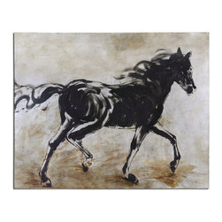 Uttermost - Blacks Beauty Horse Art - Frameless, hand painted artwork on canvas that has been stretched and attached to wooden stretching bars. Due to the handcrafted nature of this artwork, each piece may have subtle differences.