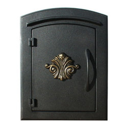 """Qualarc, Inc. - Manchester Mailbox, Scroll Door, Black - This decorative cast aluminum mailbox insert can be matched with an optional newspaper holder or address plaque. The doors are sealed against the weather and its 22 gauge steel masonry box is electro-galvanized and powder coated to last. Faceplate Dimensions: 11"""" x 14.5"""". Masonry Can Dimensions: 16"""" x 8.5"""" x 12""""."""