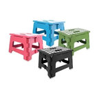 Kikkerland - Kikkerland Easy Fold Step Stools - A definite must-have in any home, dorm or office, these lightweight but supremely sturdy step stools can support up to 300 lbs. They easily fold flat for hassle-free storage and come with a built-in carry handle for convenient portability.