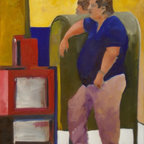 """""""Man leaning on mailbox"""" Artwork - A man is making his wait more comfortable by leaning on a mail storage box.  There is another figure on the other side of the box, the top of whose head looks like a reflection of the leaning man.  The newspaper box is an homage to Mark Rothko."""
