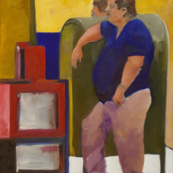 Man Leaning On Mailbox, Original, Painting - A man is making his wait more comfortable by leaning on a mail storage box.  There is another figure on the other side of the box, the top of whose head looks like a reflection of the leaning man.  The newspaper box is an homage to Mark Rothko.