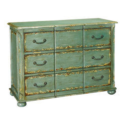 Hammary - Hammary T73025-44 Hidden Treasures 3-Drawer Chest in Weathered Blue - The Hidden Treasures collection is a fabulous assortment of one-of-a-kind accent pieces inspired by the greatest furniture designs from around the world. Each selection is a true treasure - rich in old world icons and traditions. All the pieces in this collection are crafted with attention to every detail. From brass nailhead trim and exquisite hand-painting to elegant shaping and decorative trim, every item is a unique work of art. A wide variety of materials is used to create the perfect look and finest quality - from exotic woods, leather and stone to raffia and glass. The huge selection of finishes, hardware, exceptional carvings and other final touches offer unsurpassed versatility for any room in the home. Hidden Treasures includes cocktail tables, occasional and accent pieces, trunks, chests, consoles, wine racks, desks, entertainment units and interesting storage pieces. Place one in a comfortable reading nook... In the family room for flair and variety... In the foyer for a welcome look... In a bedroom for cozy style... Or in the office for function and versatility. The pieces in this collection mix beautifully with any decorating style and will easily become the focal point in any setting.