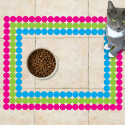 Sniff It Out Designer Pet Mats - Polka-dot Multi Color Pet Food Mat, Small - Premium-quality clear vinyl mats uniquely designed to resemble beautiful art painted directly onto your floor. The smoothness of the vinyl allows for easy cleanup and lays perfectly flat. Sniff It Out Pet Mats make great gifts and will be a conversation piece that your friends and family won't stop talking about. Made in the USA.