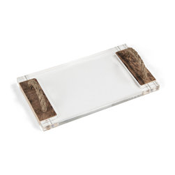 Zentique - Straight Acrylic Serving Board - The Straight Acrylic Serving Board features an H shaped acrylic board with handcrafted wooden handles with rope detail. Handles will vary.