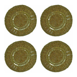 TableCenterpieces.net - Set of 4 Gold Beaded Round Satin Backed Coasters in Organza Gift Bag - Packed in an organza gift bag