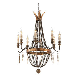 "Troy - Country - Cottage Delacroix Collection 25"" Wide French Bronze Wall Chandelier - Elegant and handsome this chandelier is defined by the decadence of the past. A 1920s feel combines with a French bronze finish aged wood beads and a distressed gold leaf accent. From the Troy Lighting Delacroix Collection. French bronze finish. Hand-worked iron construction. Decorative wood beads. Hand-carved aged wood accents. Distressed gold leaf highlights. Eight maximum 60 watt candelabra bulbs (not included). Includes 4 feet of chain. 35 3/4"" high. 25"" wide.  French bronze finish.  Hand-worked iron construction.   Decorative wood beads.  Hand-carved aged wood accents.  Distressed gold leaf highlights.  Eight maximum 60 watt candelabra bulbs (not included).  Includes 4 feet of chain.  35 3/4"" high.  25"" wide."