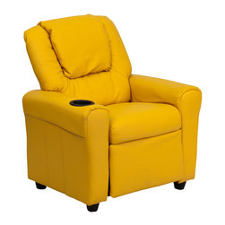 Flash Furniture - Contemporary Yellow Vinyl Kids Recliner with Cup Holder and Headrest - Kids will now be able to enjoy the comfort that adults experience with a comfortable recliner that was made just for them! This chair features a strong wood frame with soft foam and then enveloped in durable vinyl upholstery for your active child. Choose from an array of colors that will best suit your child's personality or bedroom. This petite sized recliner is highlighted with a cup holder in the arm to rest their drink during their favorite show or while reading a book.