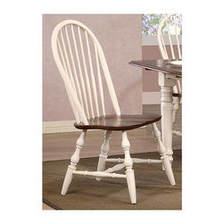 Sunset Trading - Eco-Friendly Spindle Back Chair - Traditional classic American beauty and windsor style. Chestnut seat. Perfectly carved and turned legs. Large backrest and seating area to provide ideal seating solution. Warranty: One year. Made from Malaysian oak. Antique white finish. Made in Malaysia. No assembly required. 22 in. W x 20.5 in. D x 41 in. H (20 lbs.)This beautifully designed dining chair supplied by Sunset Trading will assure you many years of use and enjoyment. Complete your dining decor with the country charm of timeless casual dining chairs from the Sunset Trading Andrews Collection. Offering yet always dependably functional, your family and friends will enjoy the seating comfort of this inviting relaxed dining chairs for years to come.