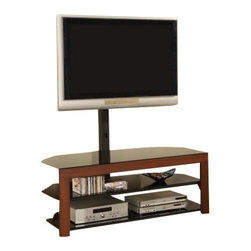 "Coaster - TV Console (Walnut) By Coaster - Description: This stylish television console will add a sophisticated look to your living room or family room. The piece has a casual contemporary look, with a warm medium Walnut frame. A generous top surface and two spacious black lower shelves offer lots of space for electronics components, movies, other media items, or decorative accents for a personal look in your space. A bracket is included with this unit so you can mount your flat panel TV for simple and comfortable viewing. This media console has a chic style that will surely complement your home decor, while adding convenient media storage to meet your needs. Dimension: TV STAND -- COASTER 700615 50""W x 22.25""D x 58""H"