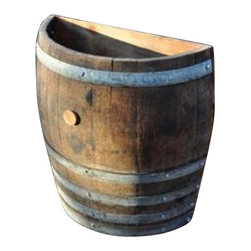 "Master Garden Products - Oak wood Tall Quarter Wine Barrel Planter, 26""W x 13""D x 27""H - Tall wine barrel planters are designed to be placed against any kind of wall or structures allowing you to accentuate your garden. We use authentic oak wood wine barrels with quality and value in mind for your gardening needs. Unlike whisky barrels, classic wine barrels are much better built, and wrapped with three galvanized steel bands to prevent rust which are seen frequently in whisky barrels. Unlike most retailers, we give you the option of drilled drainage holes on the bottoms of your barrel planters. If you plan to use the wine barrels for planting, then drainage holes are needed, so excess water may drain out of the containers without drowning and killing the plants. Of course you may also use these barrel planters for other purposes without the need of drain holes at the bottoms. All oak wood barrel front and bottom, cedar wood tongue and groove back. Lacquer finished for extra protection."