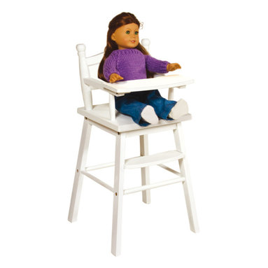 """Guidecraft - Guidecraft Doll High Chair White - Our heirloom-quality Doll Furniture Collection is the perfect play-time ensemble. Made of hardwood solids, each piece is available in natural, espresso and white finishes, and features classic styling, playful and imaginative design features. Designed for dolls up to 21"""". Great for reading , feeding and imaginative doll play. Features turned-wood posts, a clear coat acrylic finish, and quick and simple assembly. Also available in natural and espresso finishes."""