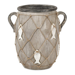 iMax - iMax St John Small Vase X-04281 - This casual handled vase features an embossed and painted fish motif and jute twine netting.