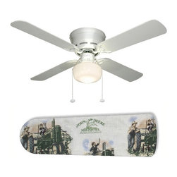 """Old Fashion John Deere 42"""" Ceiling Fan and Lamp - 42-inch 4-blade ceiling fan with a dome lamp kit that comes with custom blades. It has a white flushmount fan base. It has an energy efficient 3-speed reversible airflow motor for year long comfort. It comes with complete installation/assembly instructions. The blades can be cleaned with a damp cloth. It is made with eco-friendly/non-toxic products. This is brand new and shipped in the original box. This is not a licensed product, but is made with fully licensed products. Note: Fan comes with custom blades only."""