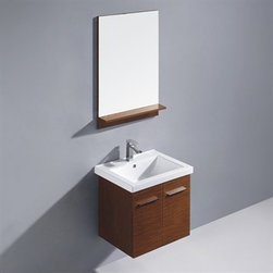 """Vigo Industries - Vigo 24"""" Amber Single Bathroom Vanity with Mirror - Wenge - Features: Vigo Amber is a wall mounted contemporary style vanity in a wenge finish. Constructed of solid engineered wood, this square vanity features a white, ceramic sink and a matching wood-rimmed mirror with matching shelf on lower edge Features two cabinet doors with soft closing hardware and sleek artistic chrome pull accents Large storage area under sink Cabinet is made from a solid engineered wood with wenge horizontal-grain finish, which consists of an anti-scratch paint surface for enhanced durability and frequent use Vanity is fabricated for wall mount installation with all mounting hardware included. Contains one white, top-mount ceramic sink with a single hole for a faucet Cabinet is shipped assembled Solid brass, chrome-plated drain assembly included Includes a mirror 5 Year Limited Warranty Cabinet measures (including sink): H - 21"""" - W - 23 5/8"""" - D - 18 1/4"""" Mirror measures: H - 35 1/2"""" - W - 23 5/8 How to handle your counter View Spec Sheet"""