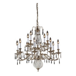 Elk Lighting - Hereford 12-Light Crystal Pendant Lamp in Clear and Aged Silver - Hereford 12 light crystal pendant lamp in clear and aged silver finish