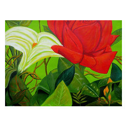 Floral Garden, Original, Painting - A flower garden in full bloom with lilies and roses.