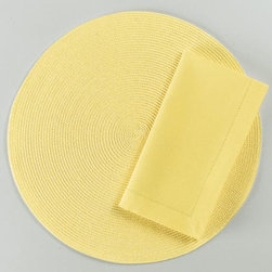 "Origin Crafts - Yellow round woven placemats set of 4 - Yellow Round Woven Placemats Set of 4 Napkins & Placemats sold separately. Sets of four. Durable. Virtually stain resistant. Woven w/polypropylene plastic and cotton thread. Wipe clean w/damp cloth. Dimensions: Placemats - 15"" dia. Napkins - 20"" x 20"" By Tag Ltd. - Tag Ltd. is a supplier of"