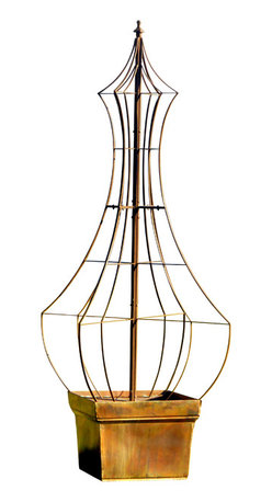 H Potter - Genie Trellis Metal with Charcoal Brown Finish - The heady fragrance of your favorite flowers can get their own perfume bottle with this shapely trellis. It's made of brown, powder-coated iron and features spikes that can go directly in the ground, or fit into a planter (not included).