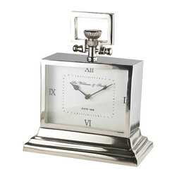 Sir William and Smith Clock - This clock from the London Collection features a Roman Numeral quarter minute marking. This unique clock offers a stainless steel plating with a polished nickel finish so that it will not tarnish. The Sir William and Smith clock is bound to be a conversation starter that complements all furniture.
