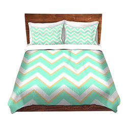 DiaNoche Designs - Duvet Cover Microfiber - Caribbean Summer Flower Mint Chevron Yellow - Super lightweight and extremely soft Premium Microfiber Duvet Cover in sizes Twin, Queen, King.  This duvet is designed to wash upon arrival for maximum softness.   Each duvet starts by looming the fabric and cutting to the size ordered.  The Image is printed and your Duvet Cover is meticulously sewn together with ties in each corner and a hidden zip closure.  All in the USA!!  Poly top with a Cotton Poly underside.  Dye Sublimation printing permanently adheres the ink to the material for long life and durability. Printed top, cream colored bottom, Machine Washable, Product may vary slightly from image.