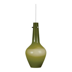 Robert Abbey - Robert Abbey Jonathan Adler Capri Tall Pendant GN734 - Green Cased Glass with Polished Nickel Accents