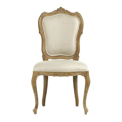 Kathy Kuo Home - Margaux French Country Carved Shield Back Dining Chair - The slender oak limbs of this baroque dining chair are hand-rubbed with a muted grey finish that pairs perfectly with the natural linen fabric of its cushions. From the front or rear, the lovely carved wood is fully visible, creating a picturesque frame around the seatback, adding muted glamour to a French country d̩cor or a contemporary rustic room.