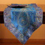 "Elegant Table Runners - ""Ocean Blue"" color. Hand crafted in Indian. Great decor for any table top. Blue Gold"