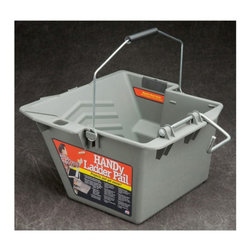 """Bercom - Bercom Handy Ladder Pail - 3655-0473 - Shop for Trash Receptacles from Hayneedle.com! Get your project finished right even if you are elevated with the innovative design of the Bercom Handy Ladder Pail. This pail is made of a durable poly material and secures to most step and extension ladders. It features a large capacity roller grid and rugged construction. Easy to clean it is solvent-resistant and made in the USA.About BercomBercom started back in 2001 in classic DIY style with the Handy Paint Pail. The story goes Mark Bergman was doing some painting around his house using the standard """"coffee can"""" paint container. When Mark s hand began to tire he designed a strap out of duct tape and the Handy Paint Pail was born. Since then Bercom has designed innovative products for the home and job site. They focus on problem solving products that offer consumers solutions to everyday tasks. Products are proudly made in the USA."""