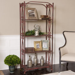 "Uttermost - Teyona Metal Etagere - Sturdy, Forged Iron Lattice And Scrollwork In Red Crackle With Oxidized Black Undertones. Uttermost's Etegers Combine Premium Quality Materials With Unique High-style Design. Bulbs included?: NO; Overall Dimensions: 16.5""D x 32.875""W x 72.5""H"