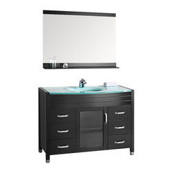 """Design Element - Waterfall 48"""" Single Sink Vanity Set, Espresso, Glass Top - The Waterfall 48"""" glass-top vanity set is elegantly constructed of quality woods which beautifully showcases the natural aqua of the glass countertop. The integrated frosted glass countertop and sleek drop-in sink design bring contemporary elegance to any bathroom. This stylish design includes a soft-closing cabinet door and six pullout drawers all adorned with satin nickel hardware. Included is a framed mirror with shelf. The Waterfall Bathroom Vanity is designed as a centerpiece to awe and inspire the eye without sacrificing quality functionality or durability."""