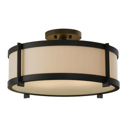 Murray Feiss - Murray Feiss Stelle Semi-Flush Mount Ceiling Fixture in Oil Rubbed Bronze - Shown in picture: Stelle Semi Flush in Oil Rubbed Bronze finish with Cream Color LinenFabric