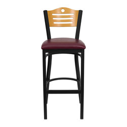 "Flash Furniture - HERCULES Series Black Slat Back Metal Restaurant Bar Stool - Natural Wood Back, - This heavy duty commercial metal bar stool is ideal for Restaurants, Hotels, Bars, Pool Halls, Lounges, and in the Home. The lightweight design of the stool makes it easy to move around. The tubular foot rest not only supports your feet, but acts as an additional reinforcement that helps secure the legs. This stool will keep you comfortable with the easy to clean vinyl upholstered seat. You will not regret the purchase of this bar stool that is sure to complement any environment to fill the void in your decor.; Heavy Duty Restaurant Bar Stool; Wood Slat Back Design; Burgundy Vinyl Upholstered Seat; 2.5"" Thick 1.4 Density Foam Padded Seat; 18 Gauge Steel Frame; Welded Joint Assembly; Two Curved Support Bars; Foot Rest Rung; Black Powder Coated Frame Finish; Plastic Floor Glides; Designed for Commercial Use; Suitable for Home Use; Assembly Required: Yes; Country of Origin: China; Warranty: 2 Years; Weight: 30 lbs.; Dimensions: 42.75""H x 16.75""W x 20.25""D"
