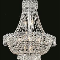 Elegant Lighting - Elegant Lighting 1900D24C/EC Century 12 Light Chandeliers in Chrome - 1900 Century Collection Hanging Fixture D24in H32in Lt:12 Chrome Finish (Elegant Cut Crystal)
