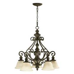 Joshua Marshal - Five Light Classic Bronze Amber Scavo Glass Down Chandelier - Five Light Classic Bronze Amber Scavo Glass Down Chandelier