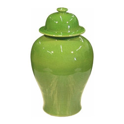 Belle & June - Lime Temple Jar - Curvaceous to the core, this sassy little vase packs a punch. The structural top pairs with its bold undulations for an effect that is endearing and dramatic at the same time. Try using two to bookend an empty space on your mantle, dresser or countertop. Its stunning shape and color pairs especially well with Asian-influenced style.