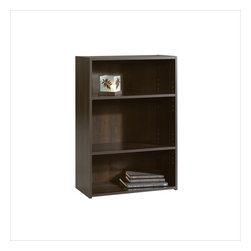 Sauder - Sauder Beginnings 3-Shelf Bookcase in Cinnamon Cherry - Sauder - Bookcases - 409086 - This bookcase is a practical addition to any home or office. Featuring two adjustable shelves, this bookcase will add style and storage to any room. Cinnamon Cherry finish.