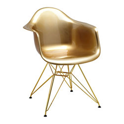 Design Lab MN - Mid Century Gold Arm Chair with Gold Wire Base, Set of 5 - Based on the classic Eames DSW side chair designed in 1950 by Ray and Charles Eames. Our Mid Century Arm Chair is a high quality reproduction made from polypropylene with wire base legs, this contemporary version of the legendary DSW chair is both stylish and comfortable.