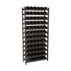 72 Bottle Stackable Wine Rack in Pine with Black Stain + Satin Finish - Four kits of wine racks for sale prices less than three of our 18 bottle Stackables! This rack gives you the ability to store 6 full cases of wine in one spot. Strong wooden dowels allow you to add more units as you need them. These DIY wine racks are perfect for young collections and expert connoisseurs.