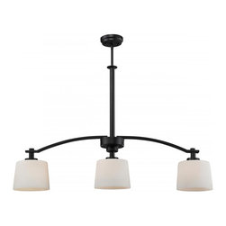 Three Light Oil Rubbed Bronze Matte Opal Glass Island Light - Bold and thick framing define this three light island fixture. Finished in oil rubbed bronze, the fixture also has complimentary matte opal glass shades, which create a soft yet modern look. Telescoping rods are included for a custom look.