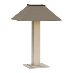 """Lamps Plus - Contemporary Barton Silver Mist Indoor/Outdoor Solar Table Lamp - Solar-power outdoor table lamp. Textured silver mist powdercoat finish. Granite Sunbrella canvas shade. Aluminum construction. Solar powered no cord can be used inside or outdoors. Charges automatically in sunlight. Photosensor turns light on at night off at daylight. 3 light levels: low lasts 8 hours per charge medium 6 hours and high 4 hours. Includes 4 high-output LEDs and 3 rechargeable 1500 MaH AA NI-MH batteries. 5.5 V300mA polycrystalline laminated solar panel included. Made in the USA.  Solar-power outdoor table lamp.  Textured silver mist powdercoat finish.  Granite Sunbrella canvas shade.  Aluminum construction.  Solar powered no cord can be used inside or outdoors.  Charges automatically in sunlight.  Photosensor turns light on at night off at daylight.  3 light levels: low lasts 8 hours per charge medium 6 hours and high 4 hours.  Includes 4 high-output LEDs and 3 rechargeable 1500 MaH AA NI-MH batteries.  5.5 V300mA polycrystalline laminated solar panel included.  Made in the USA.  26"""" high.  Shade is 19"""" wide 13"""" deep."""