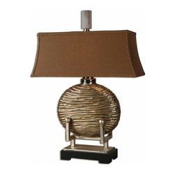 Uttermost - Rhona Modern Table Lamp - Bring a touch of the Orient to your favorite setting. With its gong-shaped body and pagoda-inspired shade, this arresting table lamp makes a distinctive statement in your decor.