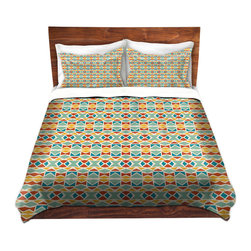 DiaNoche Designs - Duvet Cover Twill - Ethnic Mosaic - Lightweight and soft brushed twill Duvet Cover sizes Twin, Queen, King.  SHAMS NOT INCLUDED.  This duvet is designed to wash upon arrival for maximum softness.   Each duvet starts by looming the fabric and cutting to the size ordered.  The Image is printed and your Duvet Cover is meticulously sewn together with ties in each corner and a concealed zip closure.  All in the USA!!  Poly top with a Cotton Poly underside.  Dye Sublimation printing permanently adheres the ink to the material for long life and durability. Printed top, cream colored bottom, Machine Washable, Product may vary slightly from image.