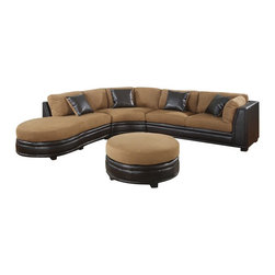"AC Pacific - 4 pc two tone sectional sofa with brown microfiber - 4 pc two tone sectional sofa with brown microfiber and brown leather like base.  This set features a LAF rounded chaise , Corner wedge and RAF loveseat with ottoman.  Measures loveseat: 74"" x 36"" x 36""H.  Corner: 75"" x 36"" x 36"" H.  Chaise: 67"" x 39"" x 36"" H.  ottoman: 38"" Round  x 19"" H.  Some assembly required."