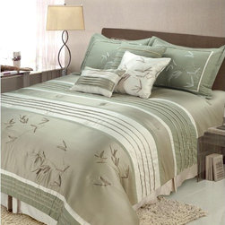 "Jenny George Designs - Sansai 7 Piece Comforter Set - Features: -Available in Full/Queen or King sizes. -Set includes comforter, 2 standard shams, bed skirt, 2 18"" x 18"" decorative pillows, and 1 12"" x 16"" decorative pillow. -Material: 100% Polyester. -Dry clean only. Specifications: -Full/Queen size: 90"" x 92"". -King size: 108"" x 92""."