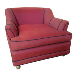 Raspberry Pink Dupioni Silk Upholstered Armchair - Dupioni silk upholstery over down filled cushions feels so luxurious in this very comfortable chair. This chair features dark blue piping on the seams, an optional back cushion and casters - all in a lush raspberry pink color! Femme Framboise!