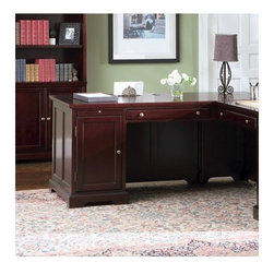 Wildon Home � - Poway Left Executive Desk - This beautiful desk return will make a wonderful centerpiece in your traditional home office. The large desk unit has everything you need for a productive day. The left side desk features a center pull out keyboard tray for easy computer use, and a pedestal with a large cabinet for storing a computer tower. A pull out tray above the door offers additional work surface when you need it. This desk has a classic style, with simple molding, bracket feet, and a Rich Cherry finish that will warm up your room. Simple gold tone hardware is the perfect finishing touch on this sophisticated ''L'' desk return. Features: -Left side desk return only.-Traditional style.-Classic molding, bracket feet, clean straight lines.-Simple gold tone metal knobs.-Felt lined top drawers, drop front keyboard drawers.-Smooth tops with straight molded edges.-Constructed from select hardwoods and veneers.-Please note that main desk and right return are sold separately.-Distressed: No.-Collection: Executive.Dimensions: -Overall dimensions: 30.5'' H x 68'' W x 38'' D.-Overall Product Weight: 158.84 lbs.