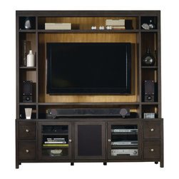 Hooker Furniture - Entertainment Console 78 inch 5078-55486 - Four drawers with removable CD/DVD dividers; two wood-framed beveled glass doors with two adjustable shelves behind each door; center door has wood or speaker cloth option with a touch latch and two adjustable shelves behind; one three plug electrical outlet