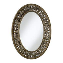 """Uttermost - Traditional Uttermost Francesco 36"""" High Oval Wall Mirror - This decorative oval mirror features an antiqued champagne finish with burnished details and a heavy gray glaze. The openwork trim design shows through to the mirror glass underneath. A beautiful mirror that you can mount vertically or horizontally. Antiqued champagne finish. Polyurethane frame. Design by Billy Moon. Mirror glass only is 26"""" high 16"""" wide. 26"""" wide. 36"""" high. Extends 2"""" from the wall. Hang weight of 23 lbs.  Antiqued champagne finish.   Polyurethane frame.   Design by Billy Moon.   Mirror glass only is 26"""" high 16"""" wide.  36"""" high.   26"""" wide.   Extends 2"""" from the wall.   Hang weight of 23 lbs."""