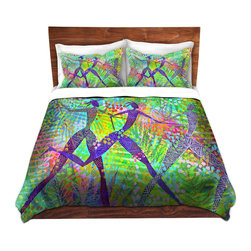 DiaNoche Designs - Duvet Cover Twill - Freedom In the Rainforest - Lightweight and super soft brushed twill Duvet Cover sizes Twin, Queen, King.  This duvet is designed to wash upon arrival for maximum softness.   Each duvet starts by looming the fabric and cutting to the size ordered.  The Image is printed and your Duvet Cover is meticulously sewn together with ties in each corner and a concealed zip closure.  All in the USA!!  Poly top with a Cotton Poly underside.  Dye Sublimation printing permanently adheres the ink to the material for long life and durability. Printed top, cream colored bottom, Machine Washable, Product may vary slightly from image.