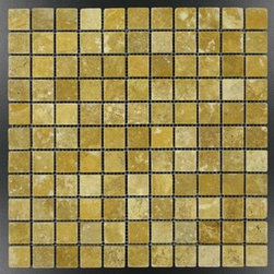 "Gold-Yellow Tumble Pattern Travertine Tiles - Gold-Yellow 1 in. x 1 in. Mosaic meshed on 12"" x 12"" sheet. This raw material is especially suited for brushed and distressed edge multi-size pattern sets, pavers and tumbled tiles & mosaics. Made from the highest quality premium Turkish scabos travertine strictly selected; consistent in color, sizing and finish. Suitable for commercial and residential projects. Interior as well as exterior surface covering applications. Meets your needs at a very low cost ."